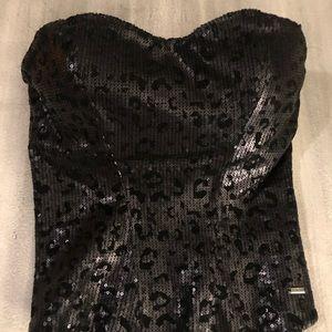 Corset black sequin animal print top